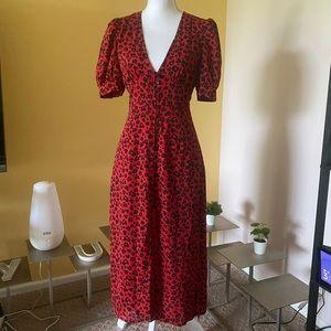Rahi Red Cheetah Heart print dress